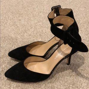 Audrey Brooke black suede heels